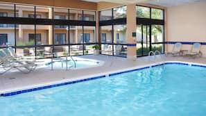 Indoor pool, open 6:00 AM to 11:00 PM, sun loungers
