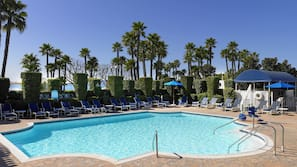 3 outdoor pools, open 7:00 AM to 10:00 PM, pool umbrellas, pool loungers
