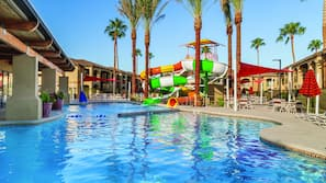 4 outdoor pools, open 9 AM to 10 PM, pool umbrellas, sun loungers