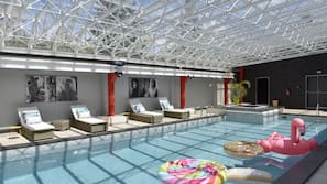 Indoor pool, open 9:30 AM to 9:00 PM, sun loungers