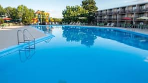 Indoor pool, outdoor pool, open 9:00 AM to 8:00 PM, pool umbrellas