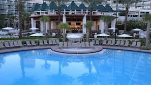 3 outdoor pools, open 8 AM to 11 PM, cabanas (surcharge)