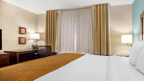 1 bedroom, premium bedding, down comforters, desk