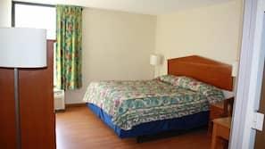 Desk, cribs/infant beds, free WiFi, alarm clocks