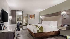Premium bedding, blackout drapes, iron/ironing board, Internet
