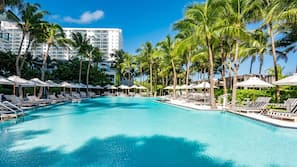 2 outdoor pools, open 9:00 AM to 7:00 PM, pool cabanas (surcharge)