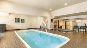 Indoor pool, open 9:00 AM to 10:00 PM, pool umbrellas, sun loungers
