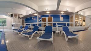 Indoor pool, open 6:00 AM to 10 PM, pool loungers