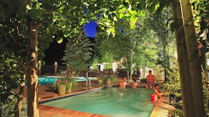 Outdoor pool, open 7:30 AM to 6:00 PM, pool umbrellas, sun loungers