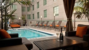 Outdoor pool, open 7 AM to 10 PM, free pool cabanas