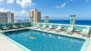 Outdoor pool, open 6:00 AM to 10:00 AM, pool loungers