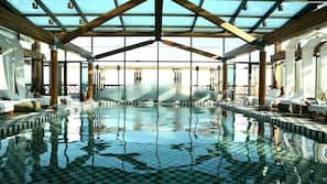 Indoor pool, open 7:00 AM to 9:00 PM, pool umbrellas, pool loungers