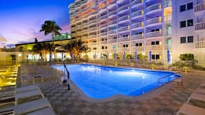 2 outdoor pools, open 8:00 AM to 7:30 PM, pool umbrellas, sun loungers