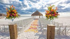On the beach, beach cabanas, sun loungers, beach umbrellas