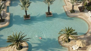 3 outdoor pools, open 8:00 AM to 10:00 PM, free cabanas, pool umbrellas