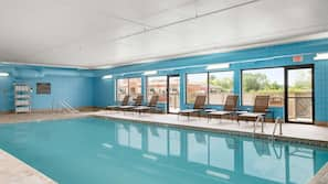 Indoor pool, open 8 AM to 11 PM, sun loungers