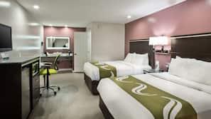 Premium bedding, memory-foam beds, desk, iron/ironing board