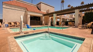 Outdoor pool, open 6:00 AM to 11:00 PM, sun loungers