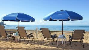 On the beach, snorkelling, beach bar