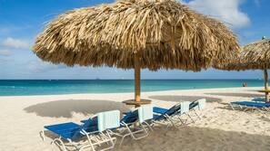 Beach nearby, white sand, free beach shuttle, sun loungers
