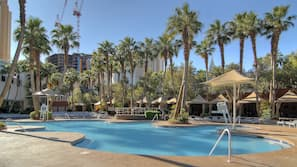 Seasonal outdoor pool, open 9 AM to 5 PM, pool cabanas (surcharge)