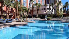 Seasonal outdoor pool, open 9 AM to 5 PM, cabanas (surcharge)