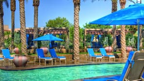 7 outdoor pools, pool umbrellas, pool loungers