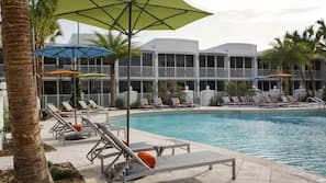Outdoor pool, open 8:00 AM to 11:00 PM, pool umbrellas, sun loungers