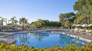Indoor pool, outdoor pool, open 8:00 AM to 7:00 PM, pool umbrellas