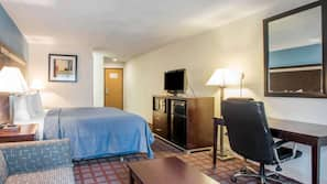 Premium bedding, pillow-top beds, laptop workspace, blackout curtains