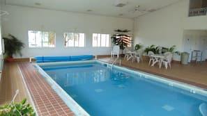 Indoor pool, open 9:30 AM to 10 PM, sun loungers
