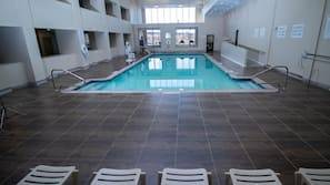 Indoor pool, open 9 AM to 11:00 PM, sun loungers