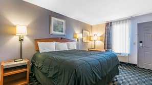 Desk, iron/ironing board, linens, alarm clocks