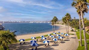 Private beach, free beach cabanas, sun-loungers, beach towels