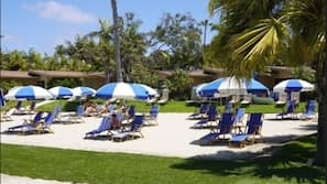 Private beach, free beach cabanas, sun-loungers, beach towels