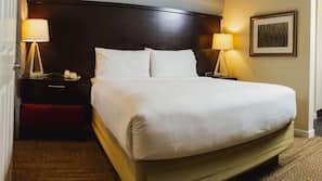 Premium bedding, pillowtop beds, desk, laptop workspace
