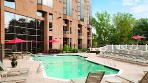 Indoor pool, seasonal outdoor pool, open 6 AM to 10 PM, sun loungers