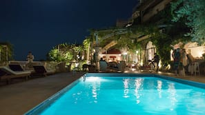 Outdoor pool, open 8:30 AM to 6 PM, pool umbrellas, sun loungers
