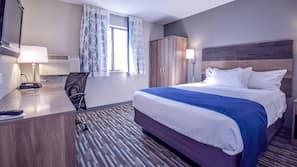 Premium bedding, blackout drapes, free cribs/infant beds, free WiFi