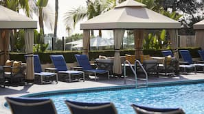 2 outdoor pools, open 7:00 AM to 10:00 PM, free cabanas, pool umbrellas