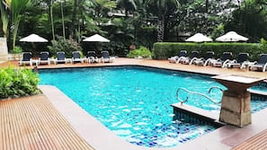 Outdoor pool, open 6:00 AM to 8:00 PM, pool umbrellas, pool loungers