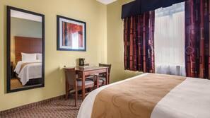 Iron/ironing board, free WiFi, linens, alarm clocks