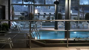 Indoor pool, open 9:30 AM to 10:30 PM, sun loungers