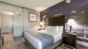 Egyptian cotton sheets, premium bedding, desk, blackout drapes