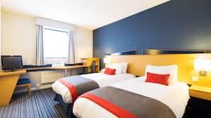 Premium bedding, Select Comfort beds, desk, laptop workspace