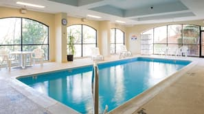 Indoor pool, open 10:00 AM to 10 PM, sun loungers