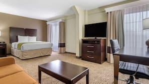 2 bedrooms, hypo-allergenic bedding, down comforters, desk