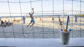 Private beach, white sand, beach volleyball, beach bar