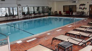 Indoor pool, open 7:00 AM to 10:00 PM, sun loungers