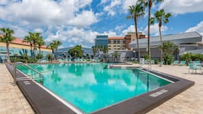 Outdoor pool, open 8:00 AM to 10:00 PM, pool umbrellas, pool loungers